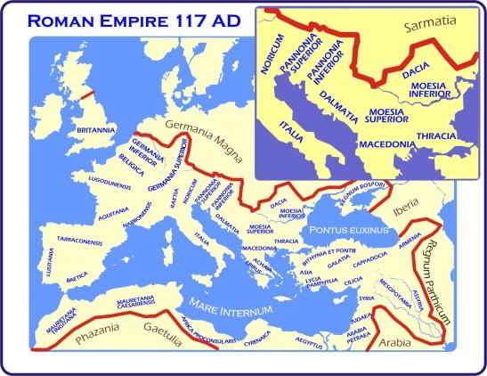 Map of Roman Empire 117 CE