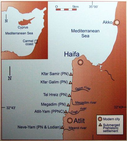 Map of submerged prehistoric sites along Levant seaboard