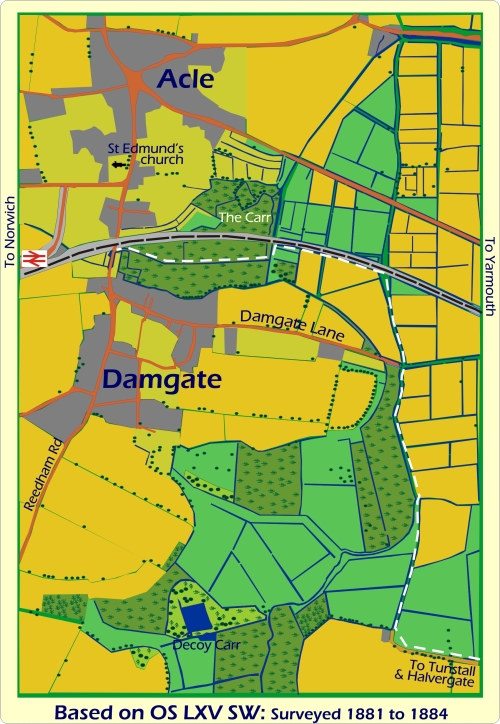 Map of Acle and Damgate