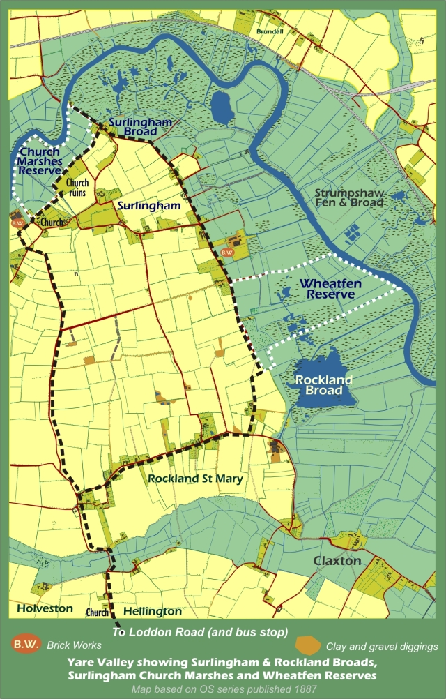 Wheatfen and Surlingham Map
