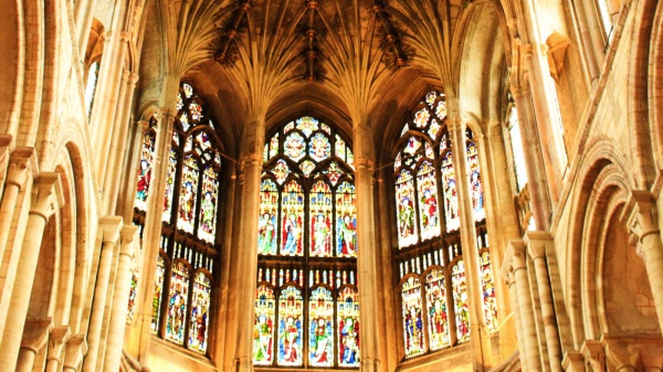 Norwich Cathedral, stained glass windows and gothic vaultins