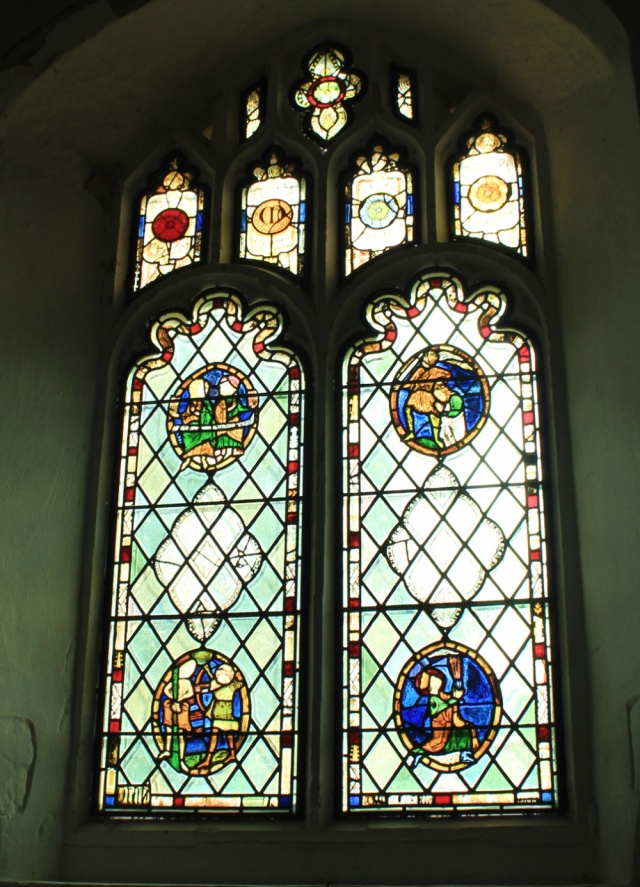 Saxlingham church stained glass 1250